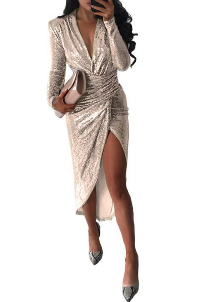 Deep V Neck Sequin High Slit Midi Dress