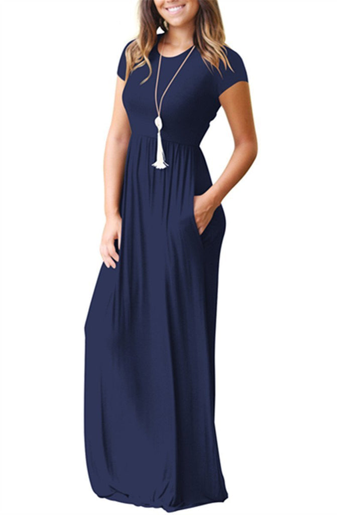Short Sleeve Pocket Casual Maxi Dress