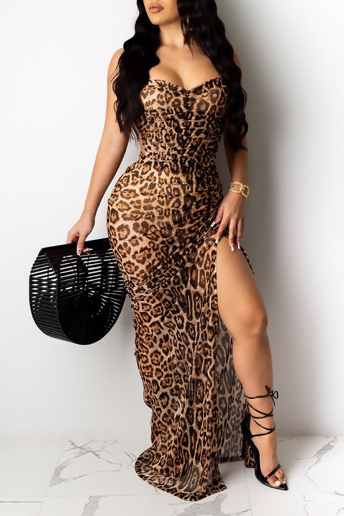 High Slit Leopard Print V-Neck Dress