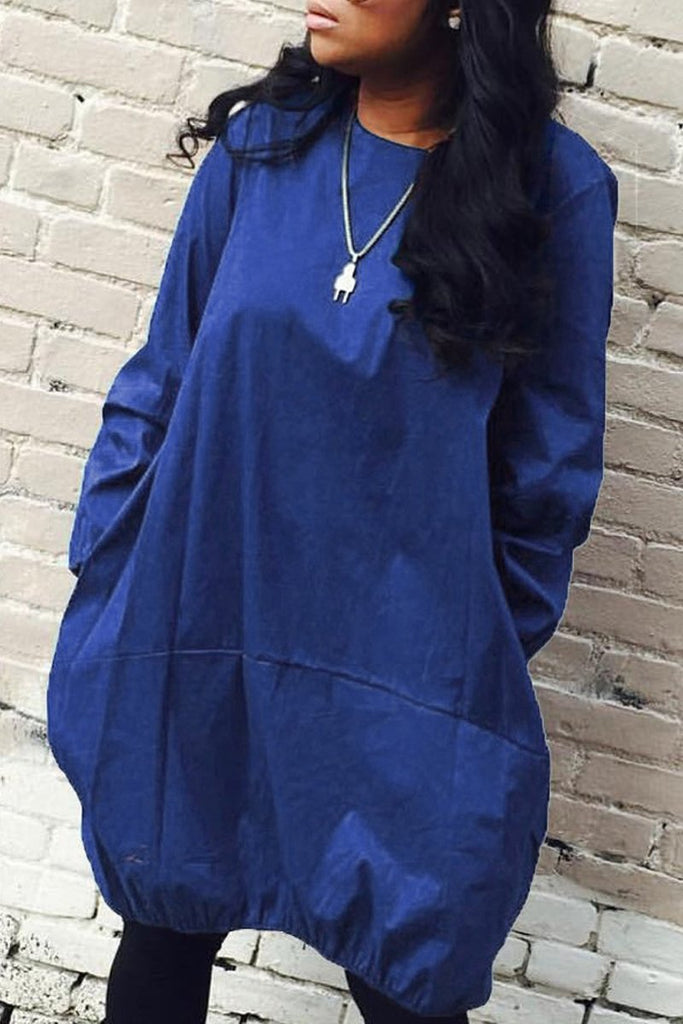 Plus Size Solid Color Pocket Casual Dress