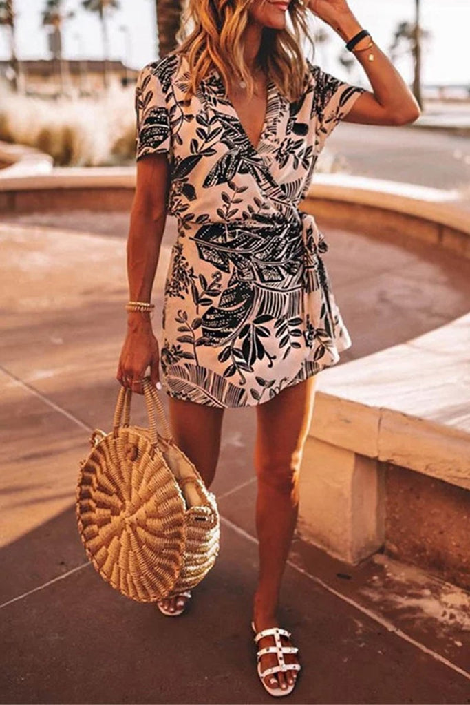 V-Neck Leaf Print Mini Dress
