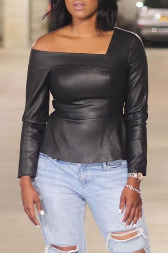 Leather Skew Neck Long Sleeve Blouse
