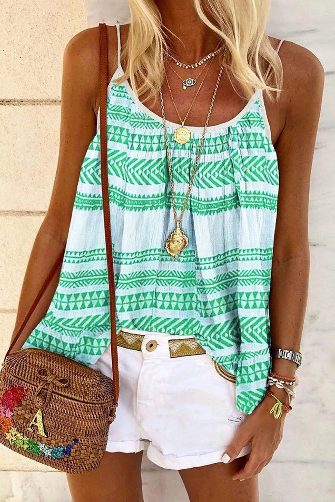 Scoop Neck Printed Sleeveless Blouse
