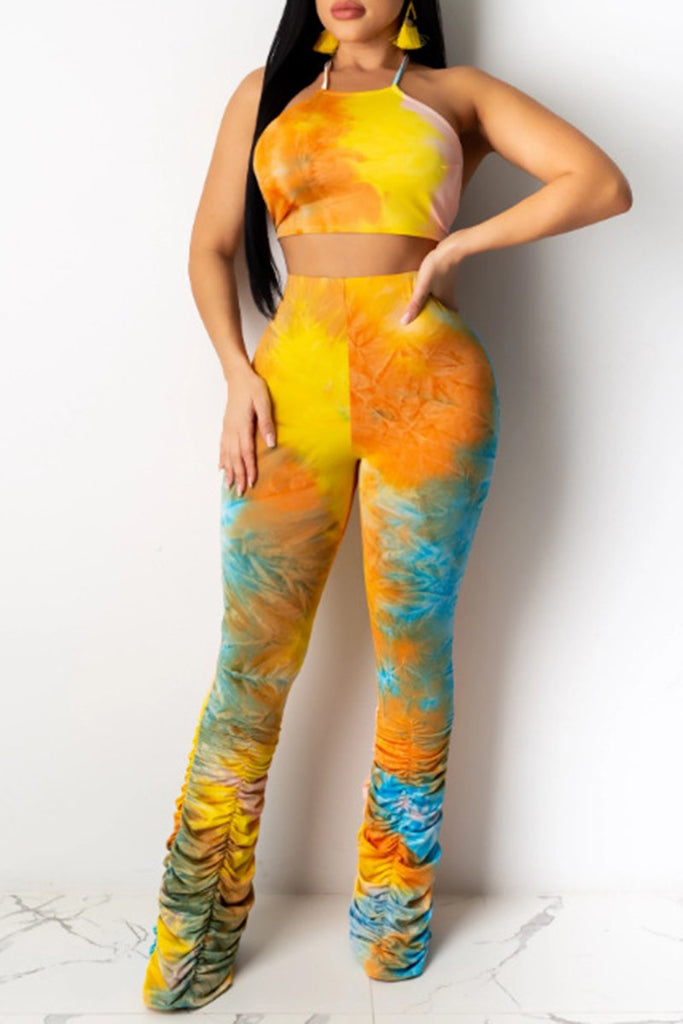 Wrinkled Tie Dye High Waist Two Piece Sets