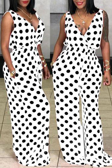 Polka Dot V Neck Sleeveless Jumpsuit