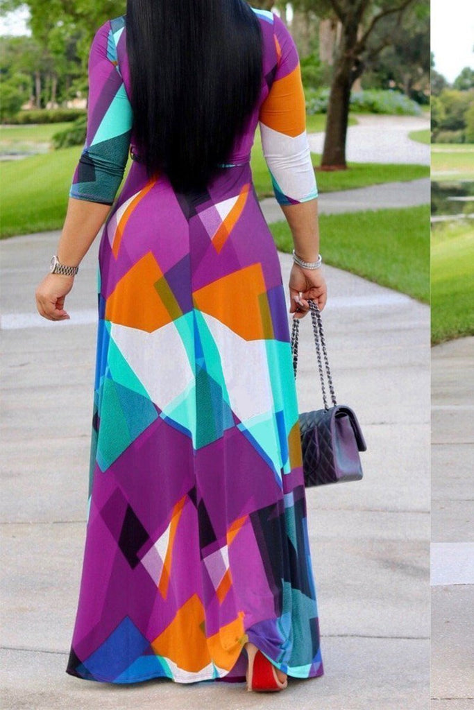 Belted Color Block V Neck Long Sleeve Maxi Dress - THEBABESTYLE