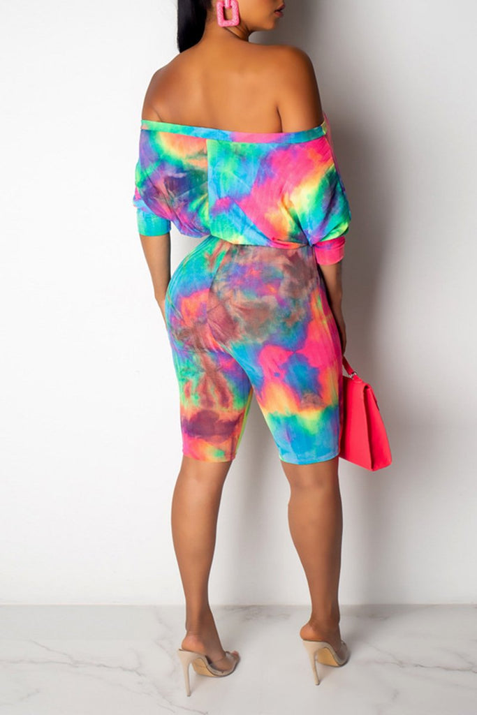 Plus Size Tie Dye Knee Length Romper