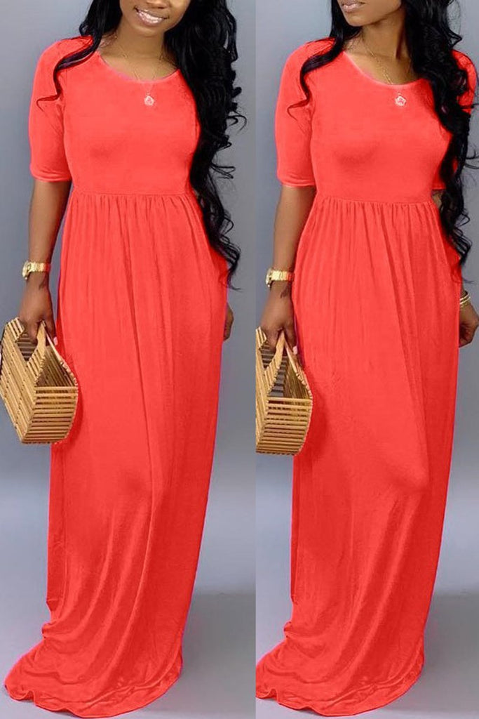 Solid Color Short Sleeve Pocket Dress