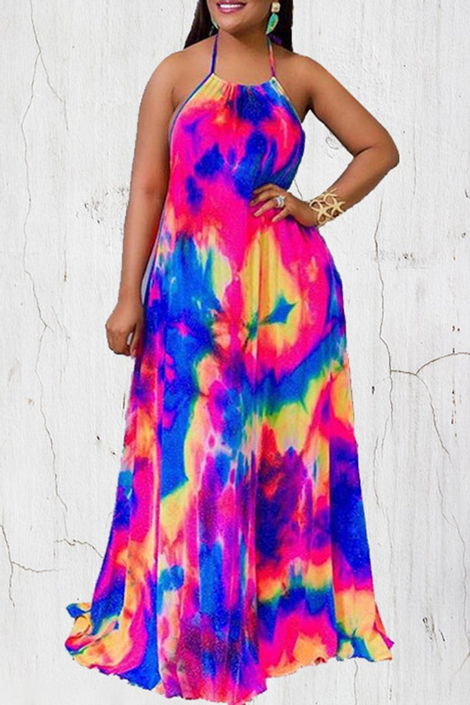 Colorful Tie Dye Halter Maxi Dress