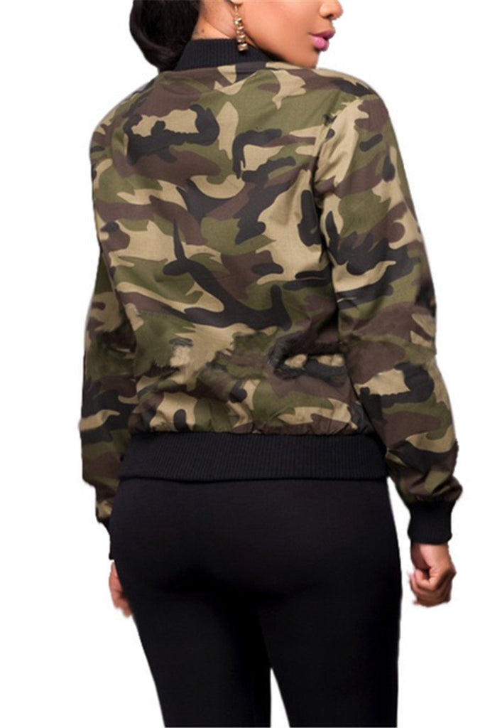 Camouflage Zip Up Long Sleeve Pocket Casual Jacket - THEBABESTYLE