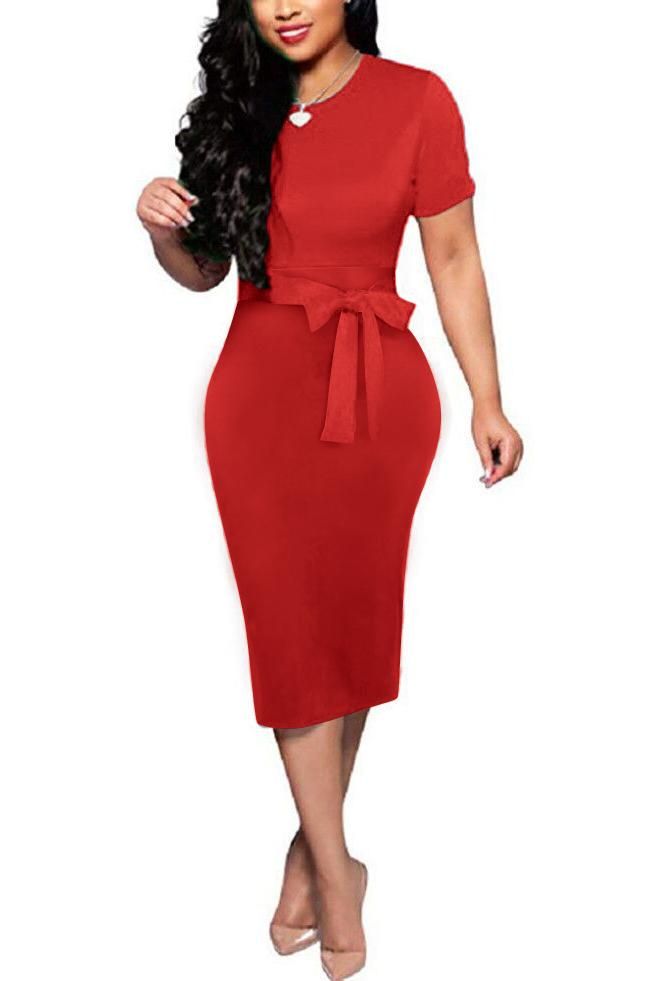 Solid Color Short Sleeve Midi Dress