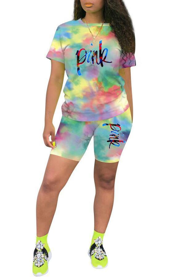 Letter Print Tie Dye Short Sleeve Two Piece Sets