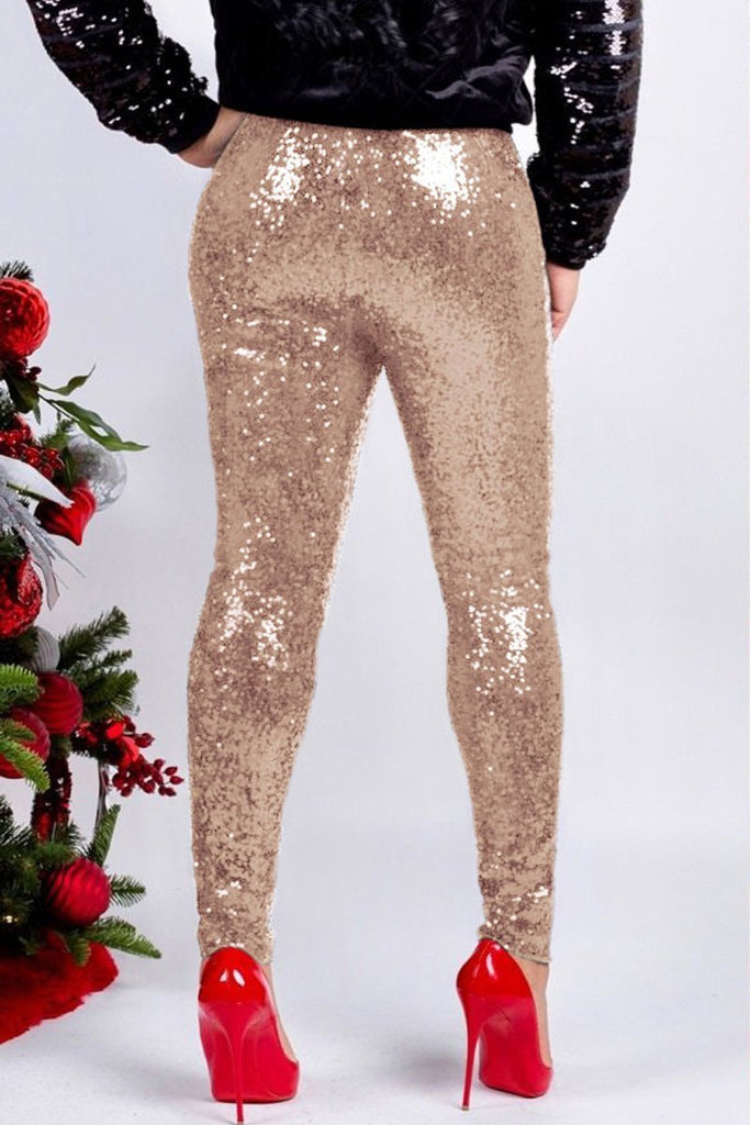 Plus Size Sequin High Waist Skinny Pants