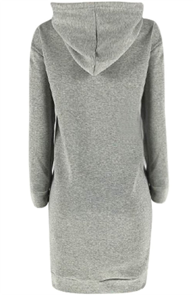 Letter Embroidered Hooded Collar Long Sleeve Winter Warm Casual Fleece Dress
