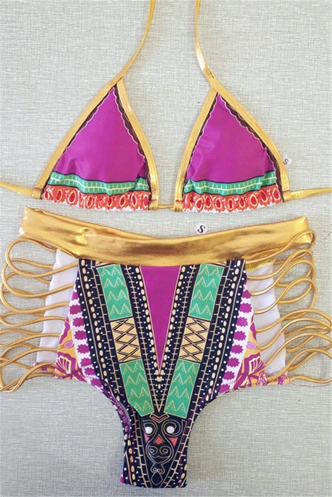 High Waist Print Bikini Set Lace Up Padded Swimsuit