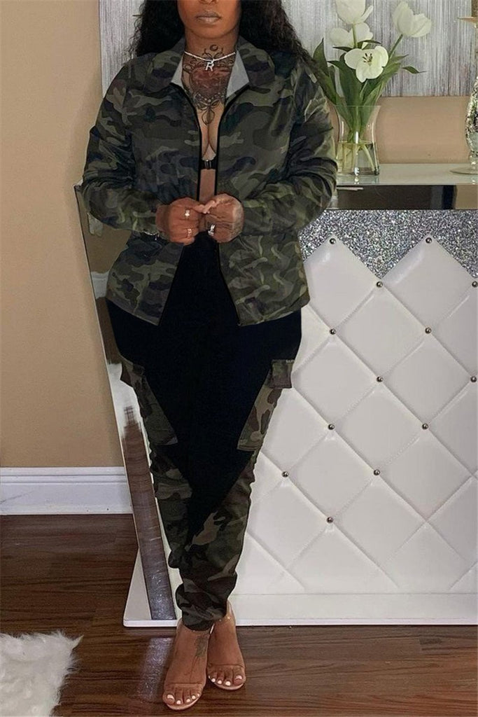 Camouflage Print Patchwork Long Sleeve Coat & Pants