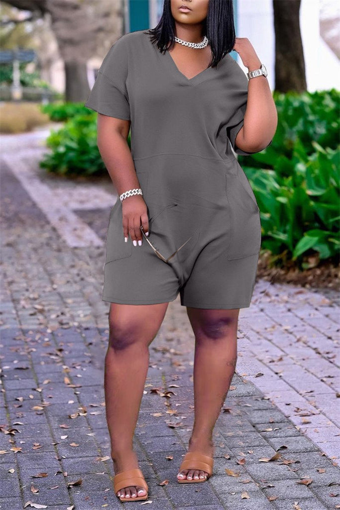 V Neck Solid Color Short Sleeve Pocket Romper