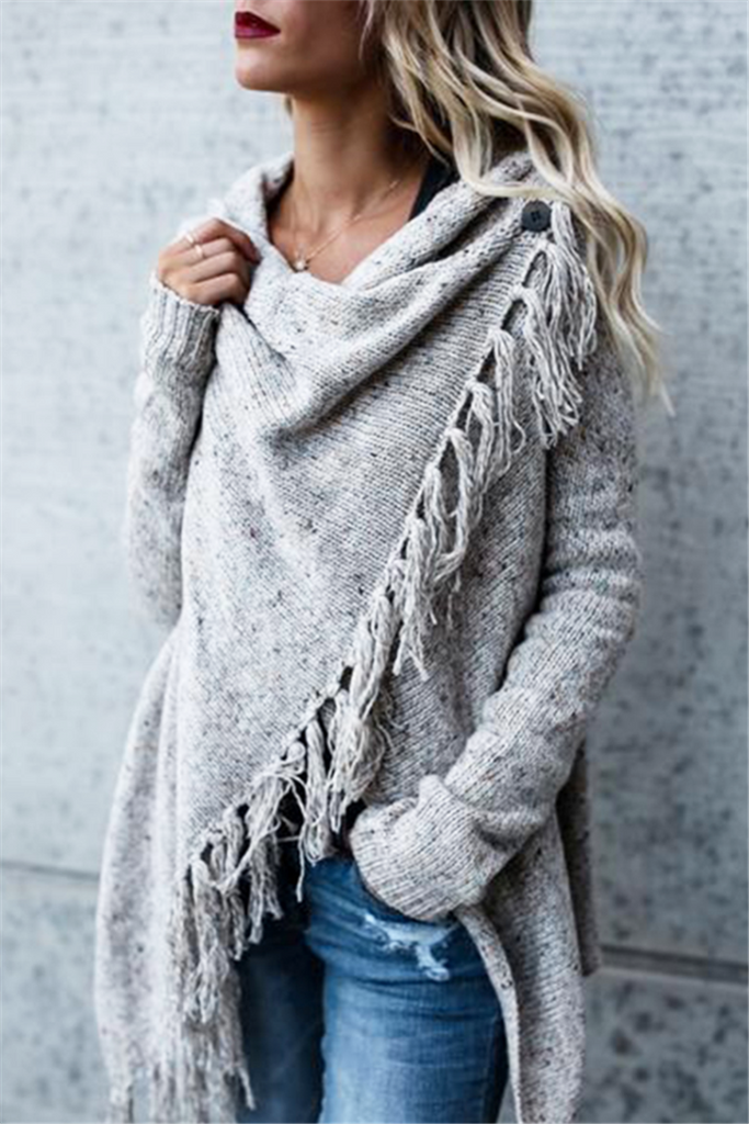 Gray Fringed Asymmetric Sweater - THEBABESTYLE