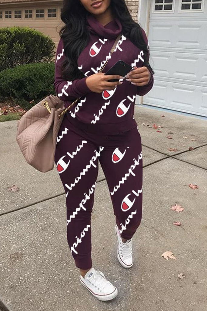Letter Print Cowl Neck Long Sleeve Two Piece Sets