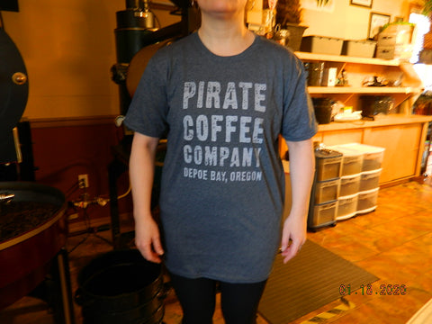 Pirate Coffee Company Logo T-Shirt Grey