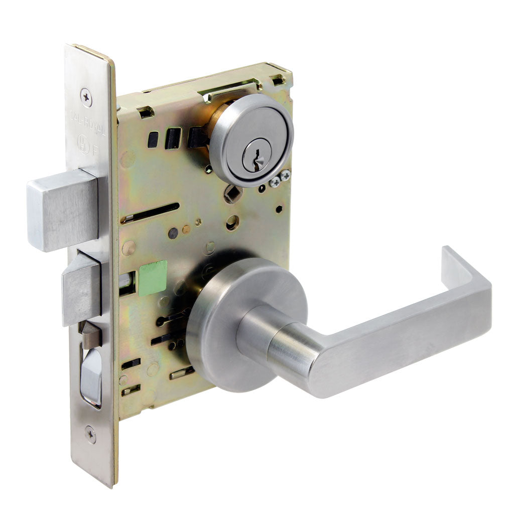 Cal-Royal NM Series, Extra Heavy Duty Mortise Locks, Grade 1 - ESCUTCHEON TRIM PRIVACY w/ Deadbolt Function F02, F19, F22, Left-Hand (VE-ZE)