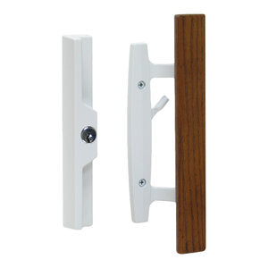 Lanai Sliding Glass Door Handle Set with Lock, Keyed, Oak Wood Pull, White