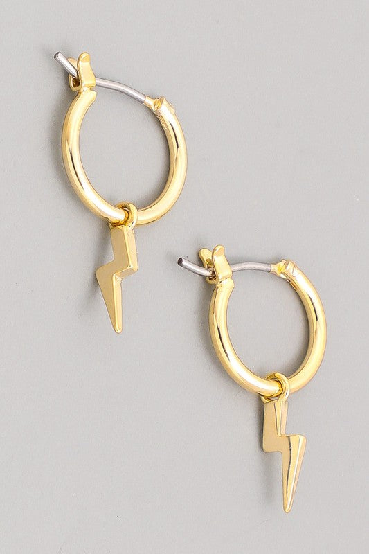 Mini Thunderbolt Hoop Earrings