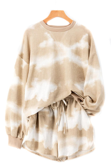 Taupe Tie Dye Sweat Suit