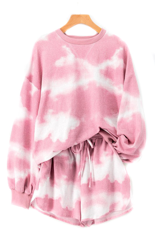 Pink Tie Dye Sweat Suit