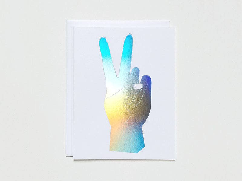 Hologram Peace Hand Note Card
