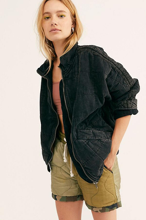 Dolman Quilted Denim Jacket