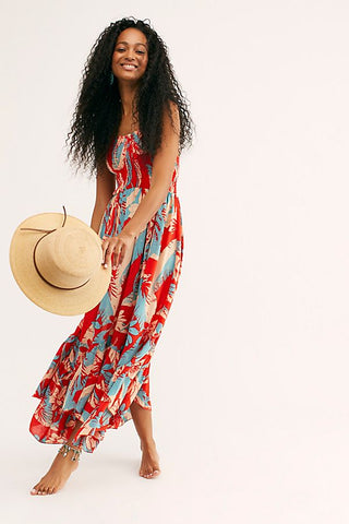 Heat Wave Printed Maxi - Red