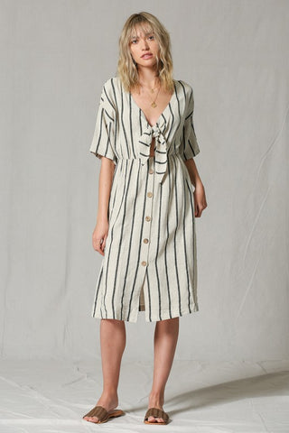 Taupe stripe dress