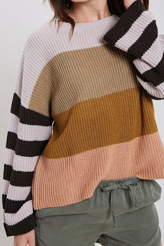 Camille Stripe Sweater Mocha