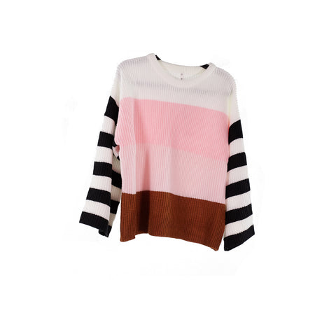 Camille Stripe Sweater Pink