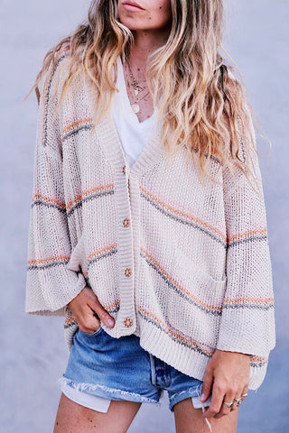 Sunrise Stripe Cardi -Natural