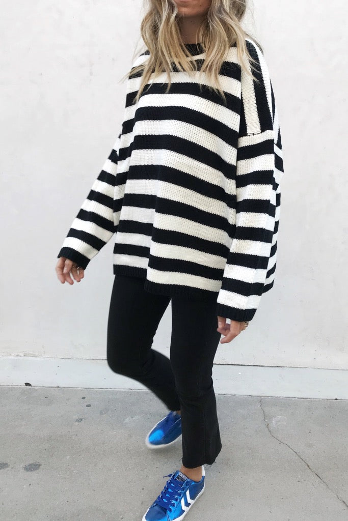 STRIPED KNIT PULLOVER SWEATER