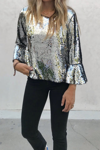 Sequin Bell Sleeve