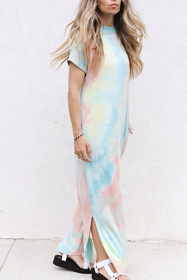 Coral + Blue Tie Dye Dress