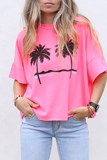 Neon Pink Palm Crop Top