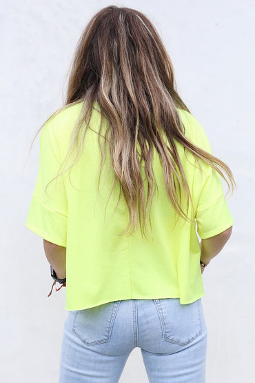 Neon Yellow Palm Crop Top