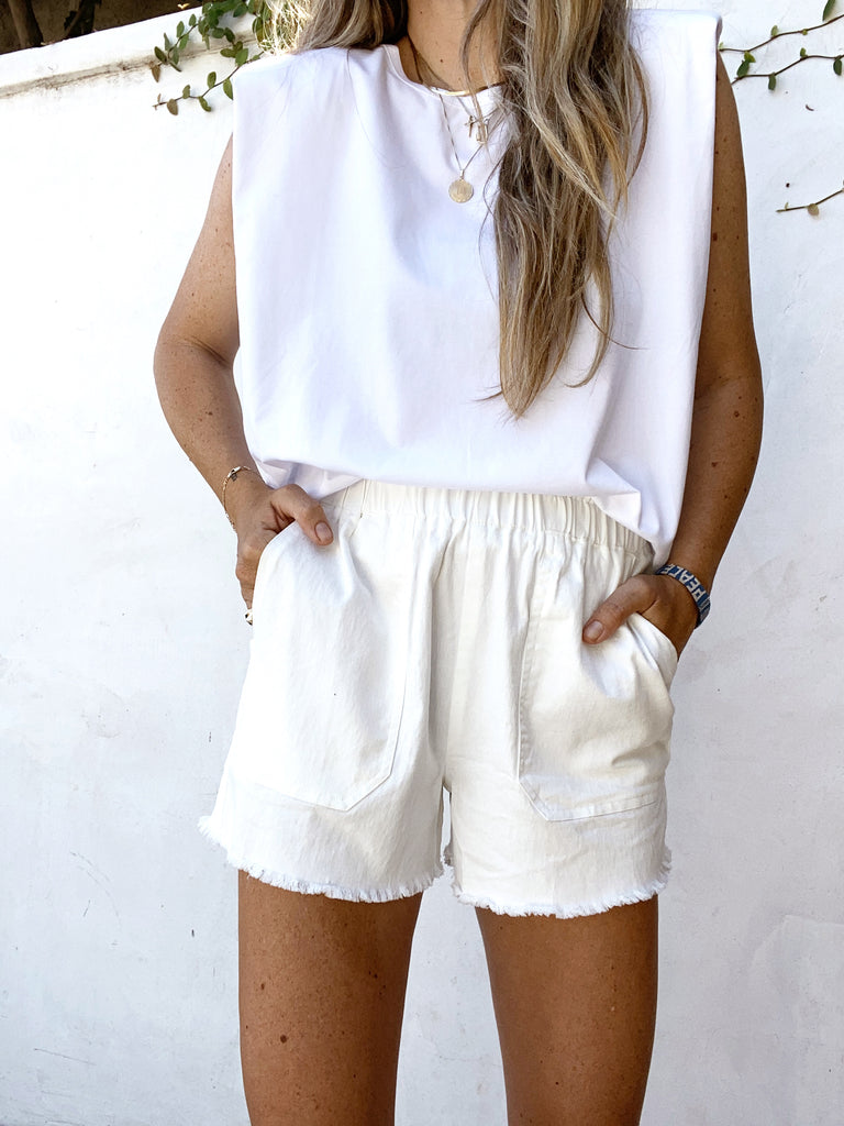 Off White High Waisted Shorts