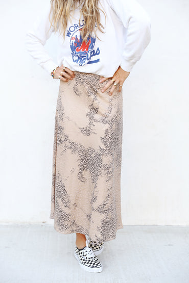 Taupe Leopard Skirt