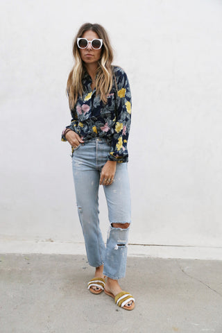Frayed Floral Top Navy