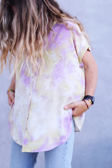 Tie Dye Button Down Mustard
