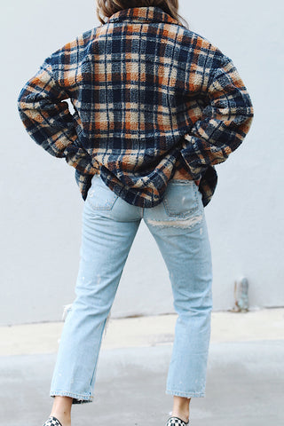 Plaid Fleece Shirt Jacket