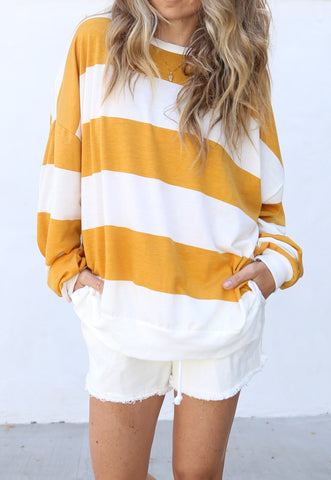 Kacey Pullover Mustard/Off White