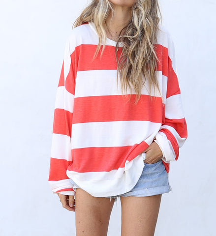 Kacey Pullover Red/Off White