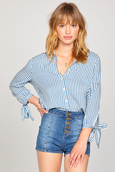 Sail away woven Top Blue