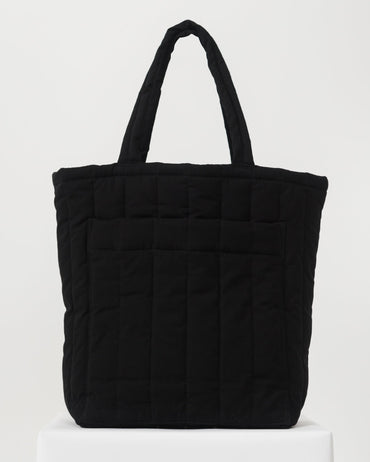 Quilted Pocket Tote - Black
